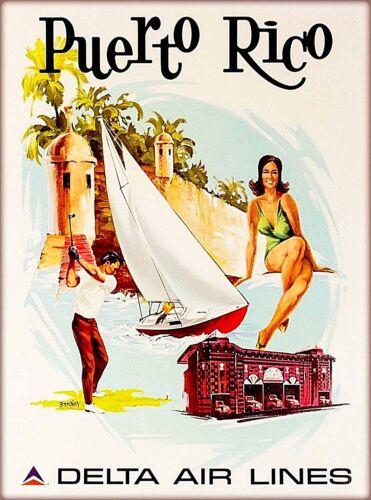 Puerto Rico Delta Airlines Caribbean Vintage U.S. Travel Advertisement Poster