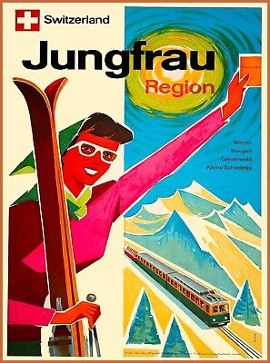Jungfrau Region Bernese Alps Switzerland Vintage Travel Advertisement Poster