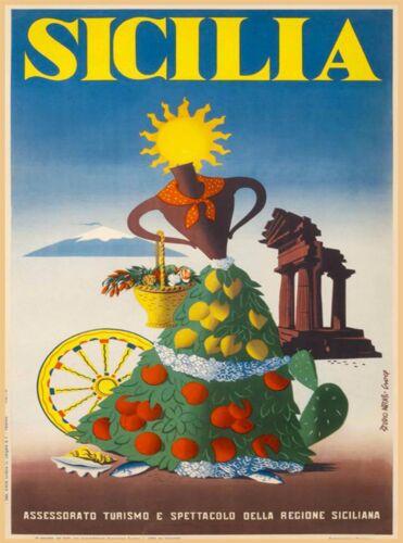 Sicilia Sicily Italy Italia Italian Europe Vintage Travel Advertisement Poster 2