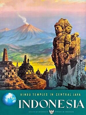 Hindu Temples of Central Java  Vintage Indonesia Travel Advertisement Poster Art