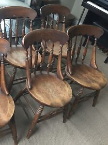 4 Solid Wood Chairs - Antique Gunstock Chairs