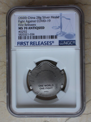 NGC MS70 2020 China Antiqued Silver 28g Medal - Fight Virus
