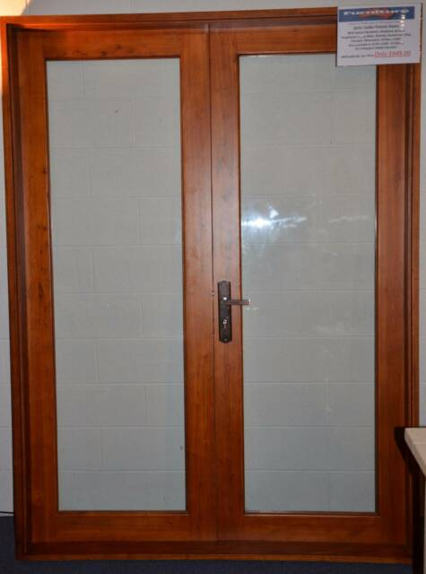 french doors solid cedar 1800 x 2100h 6mm toughened