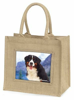 Bernese Mountain Dog Large Natural Jute Shopping Bag Christmas Gift, AD-BER6yBLN