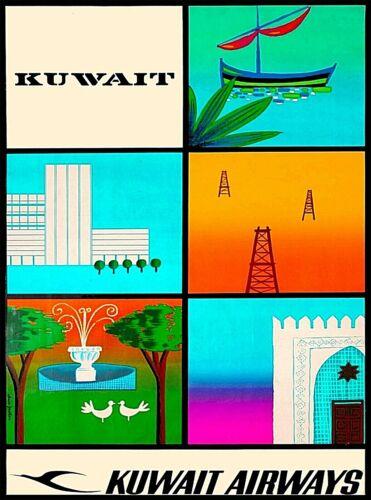 Kuwait  Airlines United Arab Republic Vintage Travel Advertisement Poster Print
