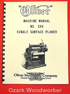 Oliver No. 299 24 X 8 Wood Planer Owners And Parts Manual 1090