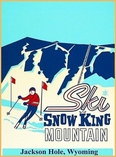 Ski Snow King Mountain Jackson Hole Wyoming Vintage U.S. Travel Art Poster Print