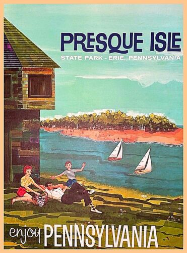 Presque Isle Lake Erie Pennsylvania Vintage Travel Advertisement Art Poster