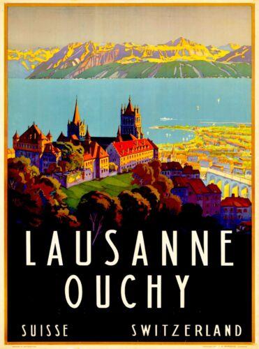 Lausanne Ouchy Switzerland Suisse Vintage Travel Advertisement Art Poster Print