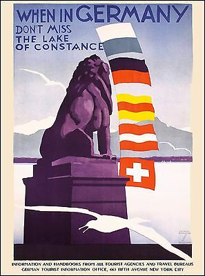 Lake of Constance Germany Europe European Vintage Travel Advertisement Poster