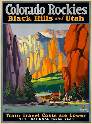 Colorado Rockies Black Hills Utah Vintage Train United States Travel Art Poster