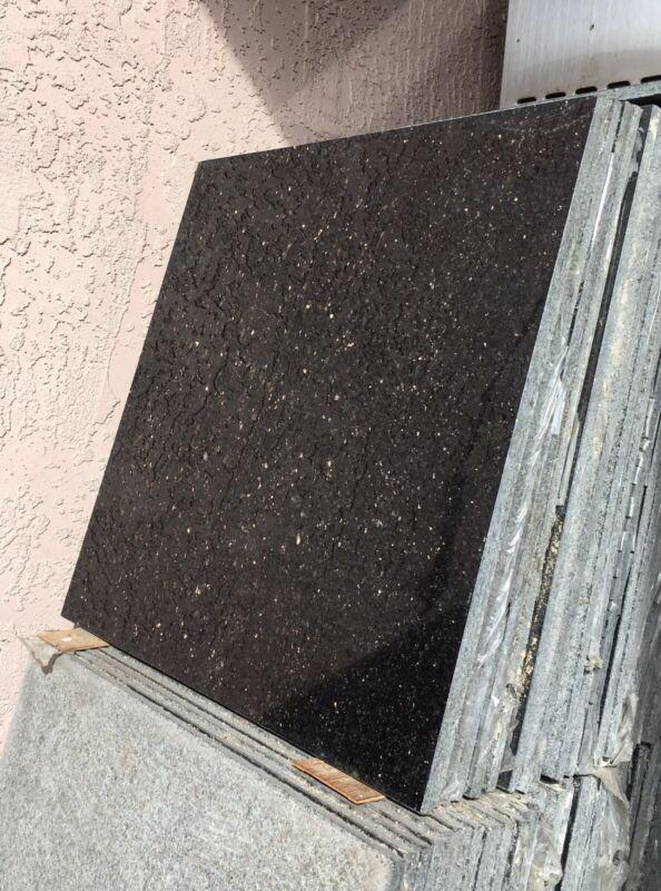Granite Tiles 18 x 18 inches Smooth Edge Black Galaxy