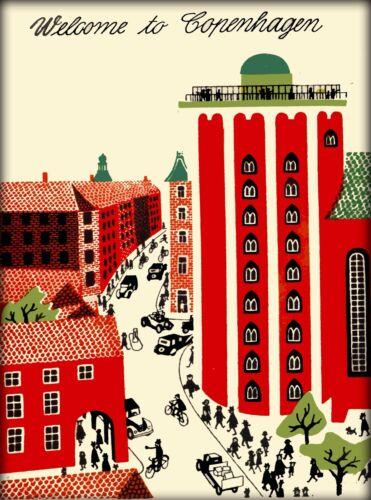 Welcome to Copenhagen Denmark Scandinavia Vintage Travel Advertisement Poster