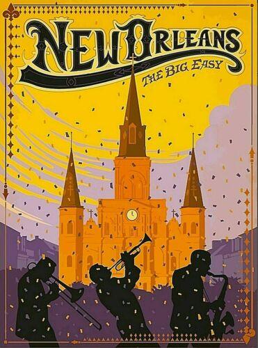 New Orleans Louisiana The Big Easy Vintage Travel Wall Decor Art Print