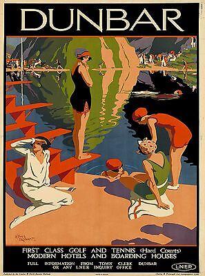 Dunbar Coast Scotland Great Britain Vintage Travel Advertisement Poster