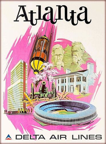 Atlanta Georgia Delta Air Lines Vintage U.S. Travel Advertisement Poster Print