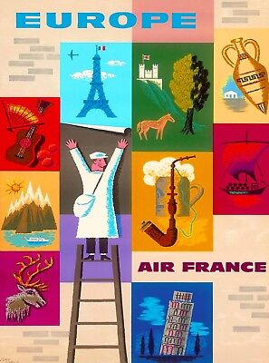 Europe France Airline Vintage Travel Wall Decor Advertisement Art Poster Print