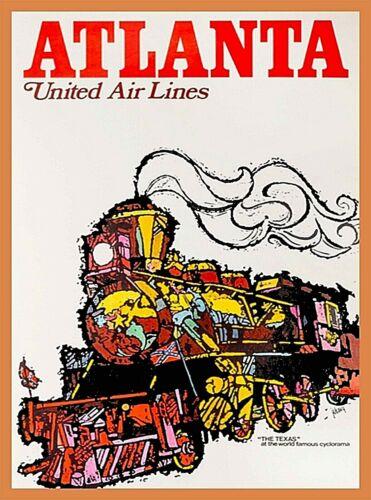 "Atlanta Georgia United Air Lines ""The Texas"" Vintage U.S.Travel Art Poster Print"