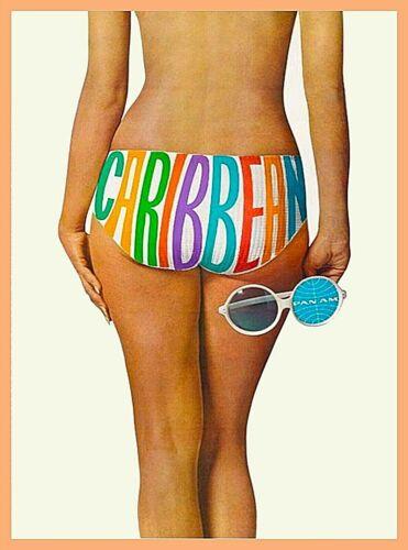 Caribbean Pan Am Bikini Vintage Airline Travel Advertisement Art Poster Print