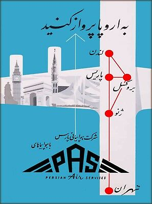 Iraq Persian Air Services Vintage Airline Travel Advertisement Art Poster Print
