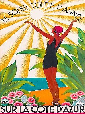 Sur La Cote D' Azur France Vintage French Travel Advertisement Art Poster Print