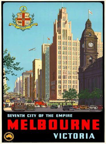 Melbourne Victoria Australia Vintage Travel Advertisement Art Poster Print