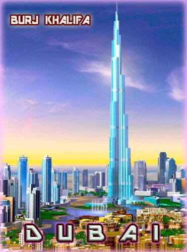 Dubai Burj Khalifa United Arab Emirates Arabian Travel Advertisement Poster 2