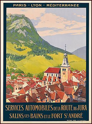 Salins-Les-Bains Jura France French Vintage Travel Art Poster Advertisement