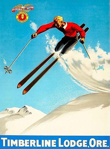 Timberline Lodge Oregon Ski Snow Winter Vintage United States Travel Art Poster
