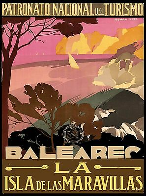 Balearic Islands Spain Vintage Spanish Travel Advertisement Art Poster Print