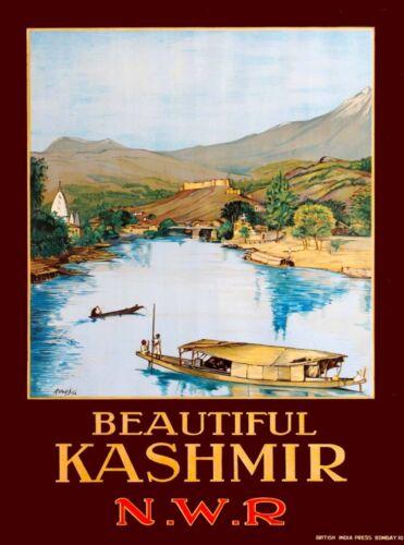 Beautiful Kashmir India Southeast Asia Vintage Travel Advertisement Poster Print