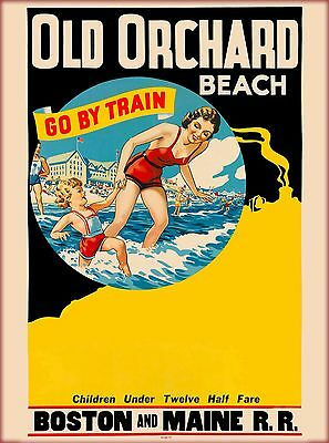 Old Orchard Beach - Boston & Maine Vintage Railroad Travel Advertisement Poster