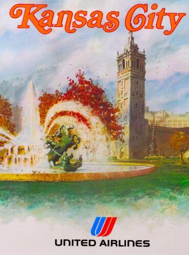 Kansas City Missouri United States Vintage Travel Advertisement Art Poster Print