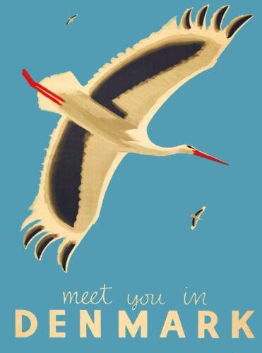 Meet You In Denmark Scandinavia Seagull Vintage Travel Advertisement Art Poster