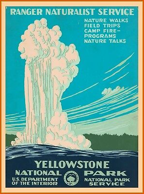 1938 Yellowstone National Park Vintage Wyoming Travel Advertisement Poster