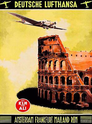 Deutsche Lufthansa Germany Rome Italy Vintage Travel Advertisement Poster Print