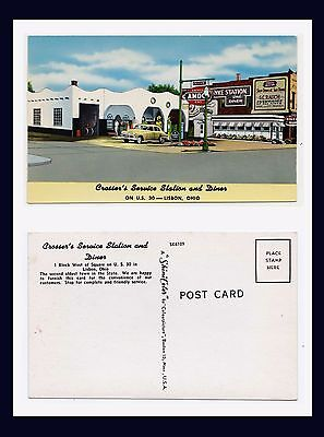 OHIO LISBON CROSSER'S SERVICE STATION DINER US ROUTE 30 LINCOLN HWY CIRCA 1952