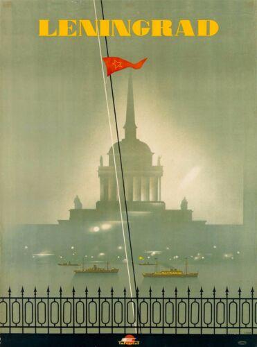 Leningrad St. Petersburg USSR Vintage Russian Travel Advertisement Art Poster