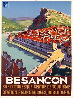 Besancon France French European Vintage Travel Advertisement Art Print Poster