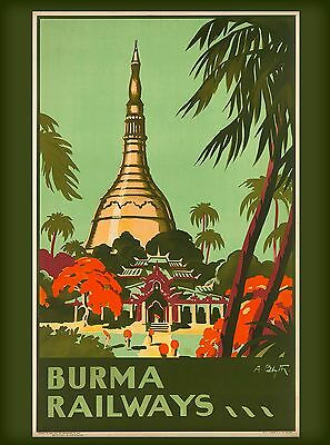 Burma Railways Burmese Southeast Asia Vintage  Travel Poster Advertisement