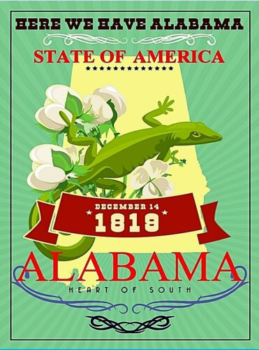Alabama United States Retro Travel Advertisement Art Deco Poster Print
