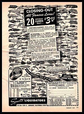 "1969 Sports Liquidators Burbank CA ""20 Fishing Lures For $3.95"" Vintage Print Ad"