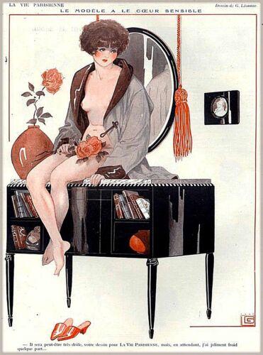 1920s La Vie Parisienne Le Modele a le Coeur France French Travel Poster Print