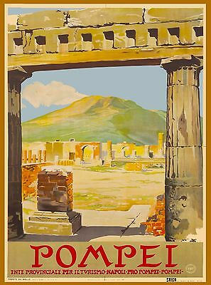Pompei Mt. Vesuvius  Italy Vintage Italian Travel Advertisement Art Poster Print