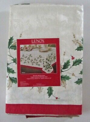 "NEW LENOX HOLIDAY HOLLY IVY Table Linen SET 1 Tablecloth 60""x118"" + 8 Napkins"