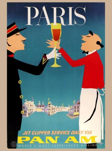 Paris Pan Am France French Europe European Vintage Travel Advertisement Poster