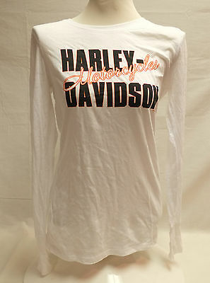 White Burnout L/s T-shirts (Harley-Davidson Women's L/S White
