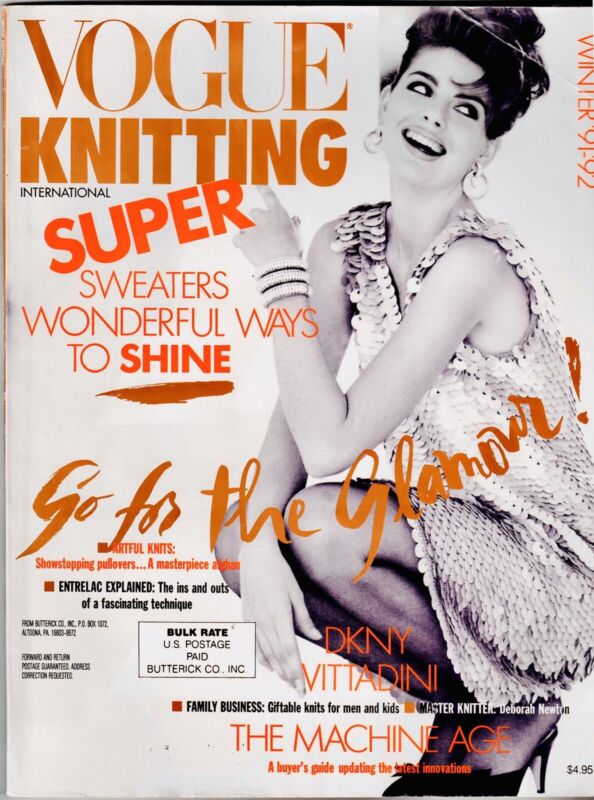 Vintage 90s VOGUE KNITTING MAGAZINE WINTER FASHION 1991 1992 Sweaters Knit Sew