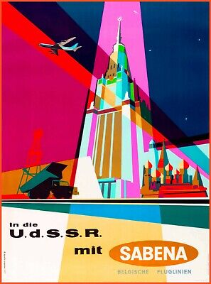 Russia USSR Sabena Airlines Vintage Travel Advertisement Art Poster Print Advertisement Art Poster Print