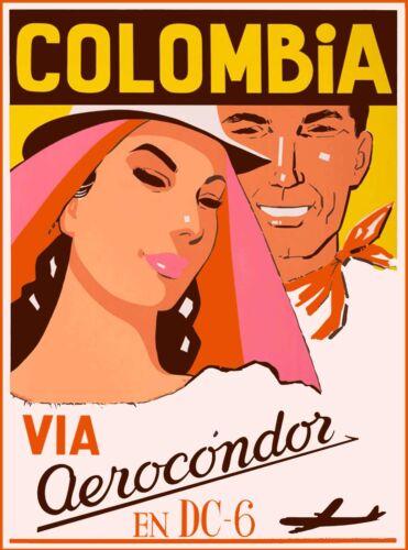 Colombia Via Aerocondor South America Vintage Travel Advertisement Art Poster